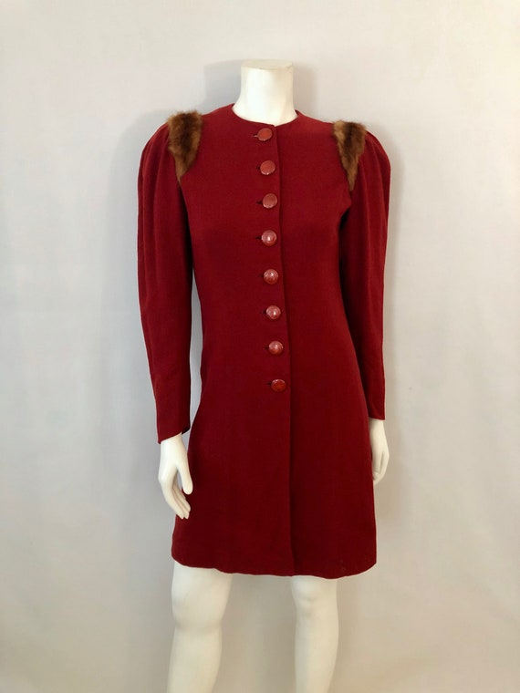 Vintage Women's 40's Brick Red, Wool, Fur Trimmed,