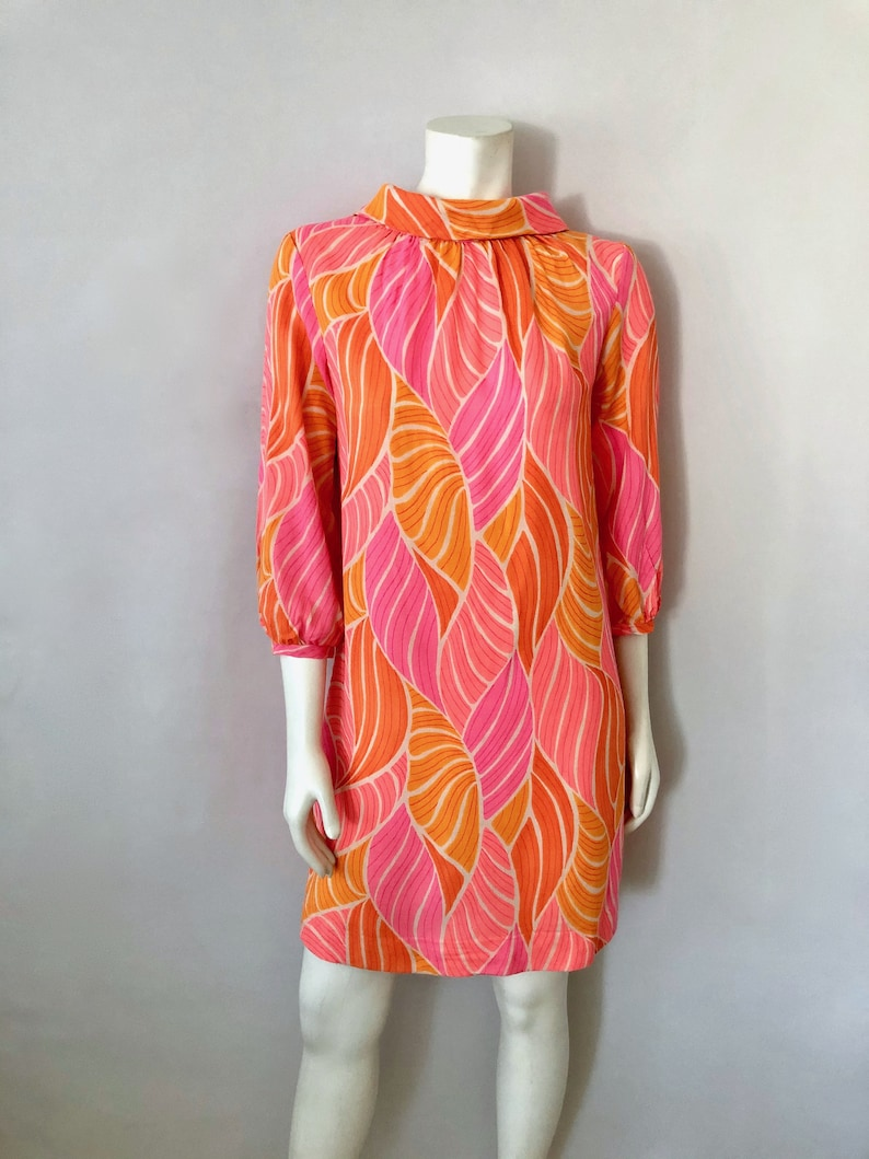 Vintage Women's 60's Dixie Deb Neon Pink Orange image 0