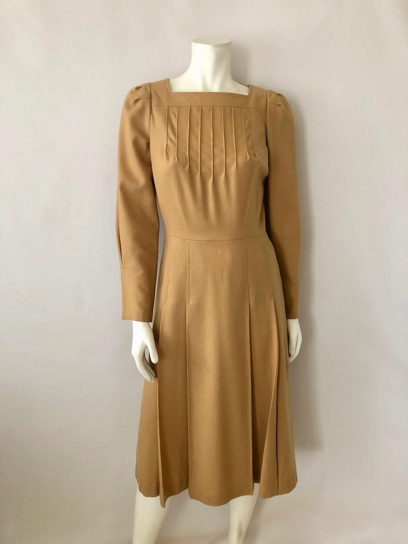 Vintage Women's 70's Tan Wool Long Sleeve Dress M image 0