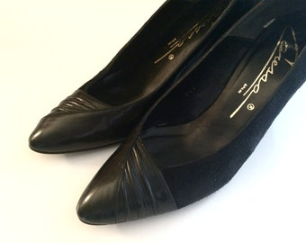 Vintage Shoes Women's 80's Heels, Black, Suede, Patent Leather by Caressa (Size 7N)