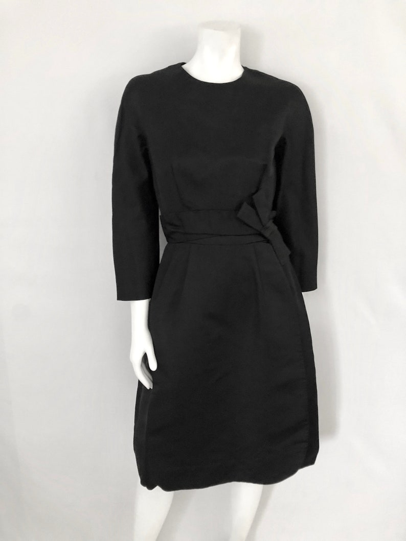 Vintage Women's 60's Black Bow Sleeved A-Line image 0