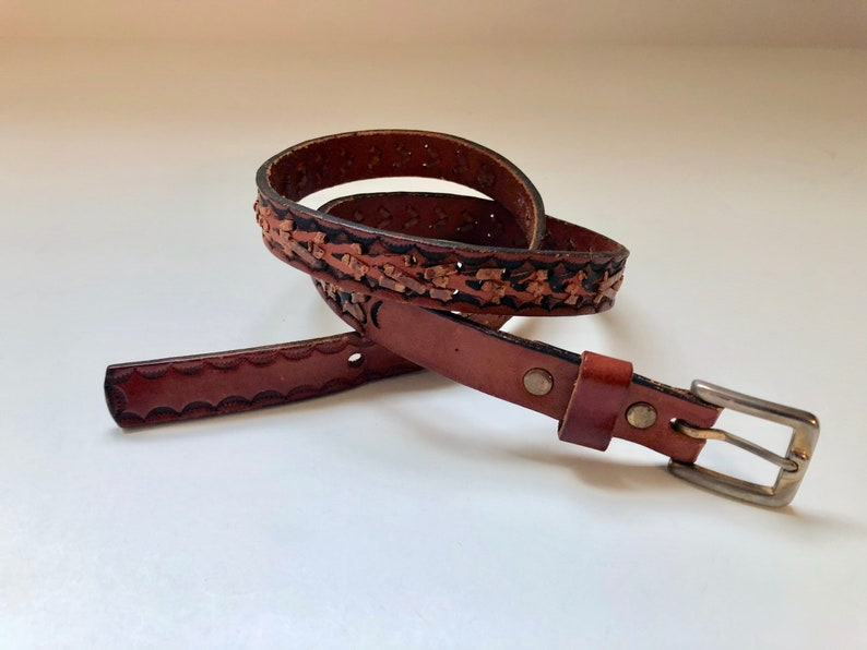 Vintage Women's Belts 70's Woven Brown Leather Belt image 0