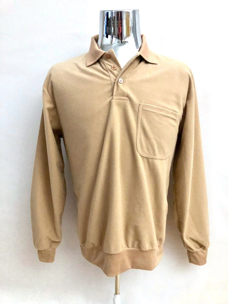 Vintage Men's 80's Tan Long Sleeve Pull Over image 0