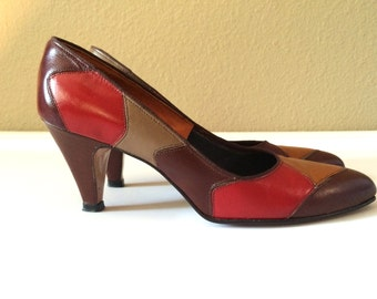 Vintage Shoes Women's 80's Andiamo, Pumps, Leather, Multi-Colored, Heels (Size 6 1/2)