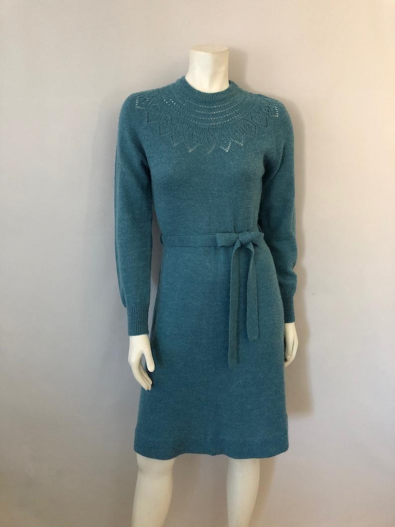 Vintage Women's 80's Blue Acrylic Blend Long Sleeve image 0