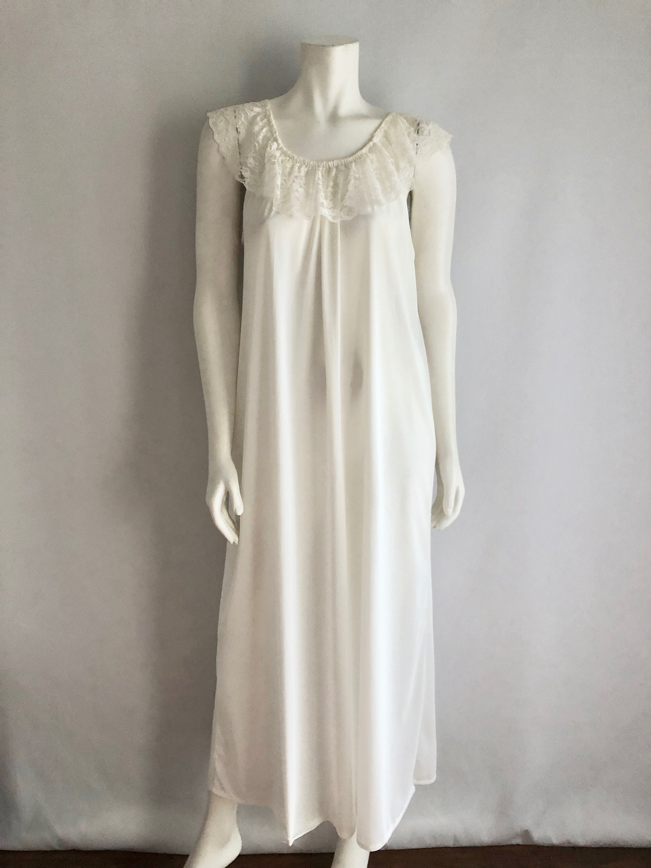 Vintage Sleepwear Women\'s 70\'s White Nightgown Lace | Etsy