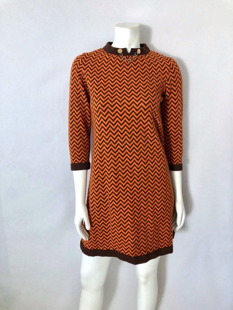 Vintage Women's 60's Mod Orange Brown A Line Dress image 0