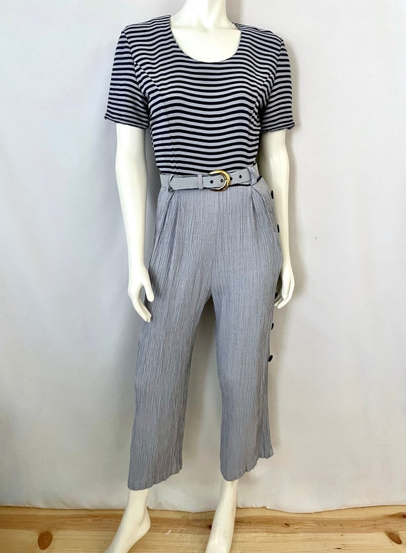 Vintage 80's Gray, Blue, Striped, Short Sleeve, Be
