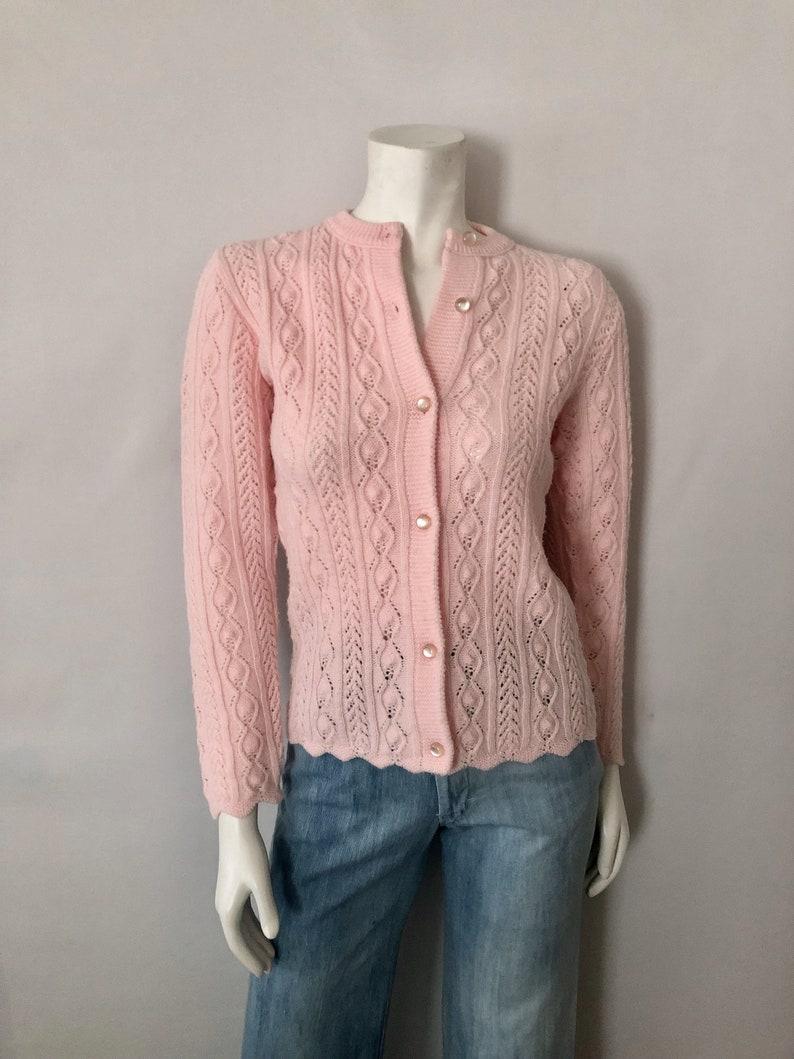 Vintage Women's 70's Pink Acrylic Long Sleeve image 0