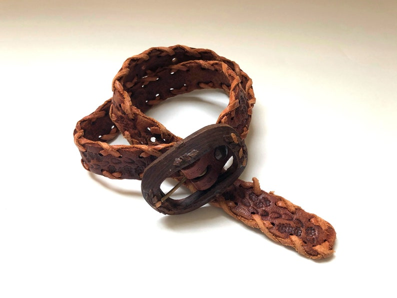 Vintage Women's Belts 70's Woven Brown Leather Belt image 0