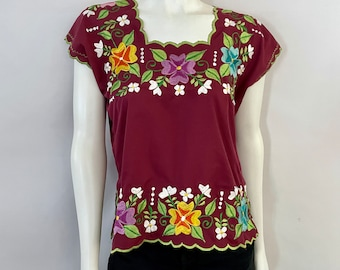 Vintage 70's Maroon, Embroidered, Floral, Mexican Top (M)