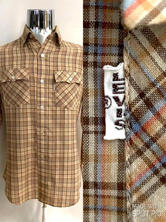 Preppy Tan Plaid Shirt Classy Mens Plaid Shirt Vintage Tan Plaid Long Sleeve Polo Shirt Mens Medium 90s Shirt Vintage Claiborne Shirt