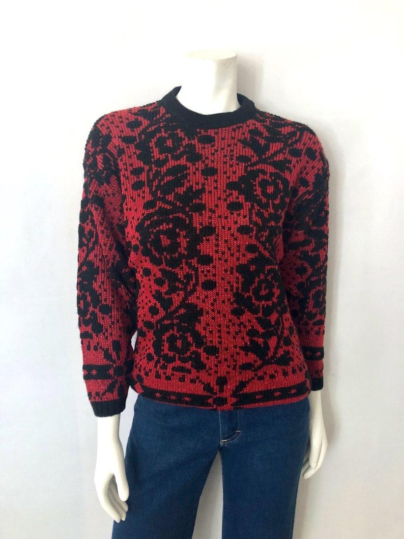 Vintage Women's 80's Red Black Acrylic Geometric image 0