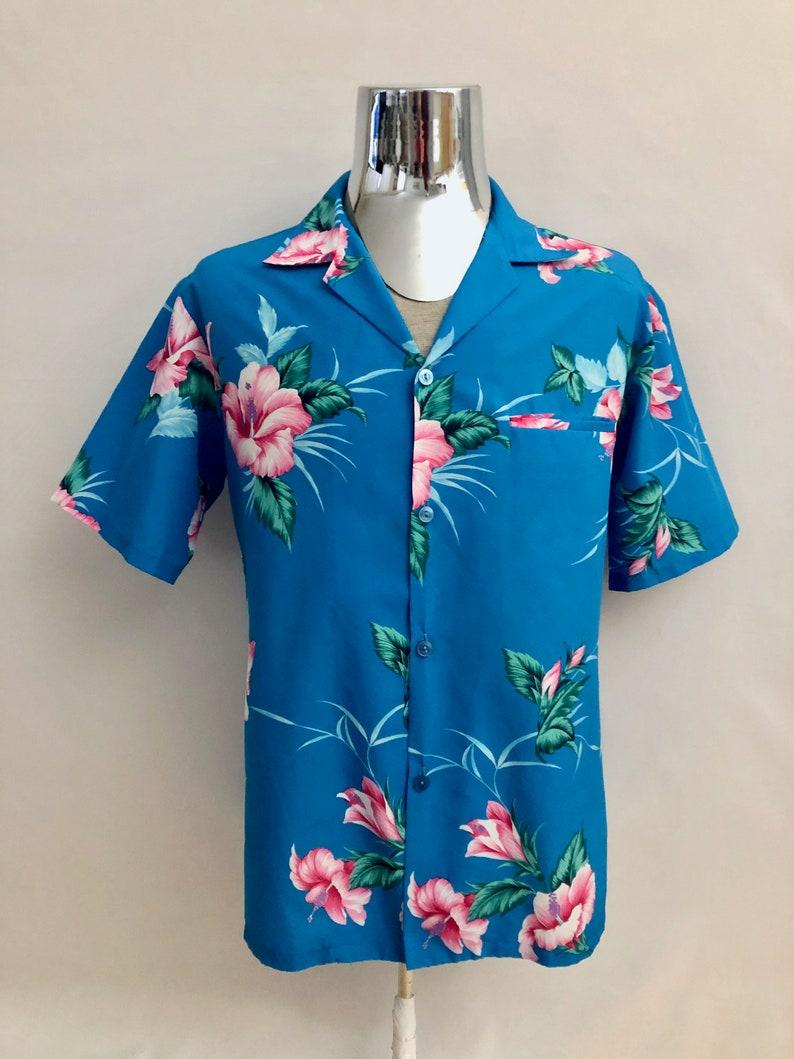 Vintage Mens 80's Hawaiian Blue Short Sleeve Button image 0