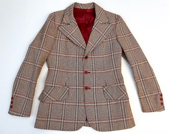 Vintage Men's 70's Tan Plaid Wool, Sport Coat (XS)