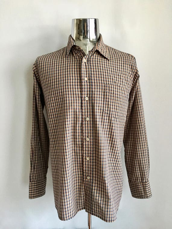 f70bdd60427 Vintage Men s 80 s Checkered Shirt Long Sleeve