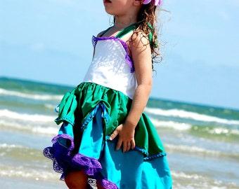 Ariel Dress, Little Mermaid Dress, Ariel Costume,  Little Mermaid Costume, Little Mermaid Birthday Outfit, The Little Mermaid girls dress