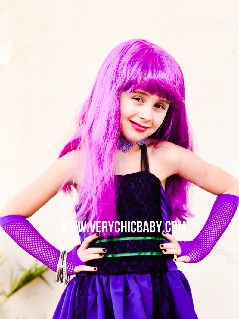 Mal Descendants Costume, Descendants Mal Dress, Descandants Mal Couture  Style Doll Costume Halter Lace Dress Twirly Dressup Custom purple