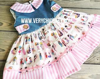 Back to School Dress, PreSchool Dress, Graduation Tunic Dress, Girls Dress, Toddler Dress, School Dress, Toddler Dress, Pink Dress, Girls