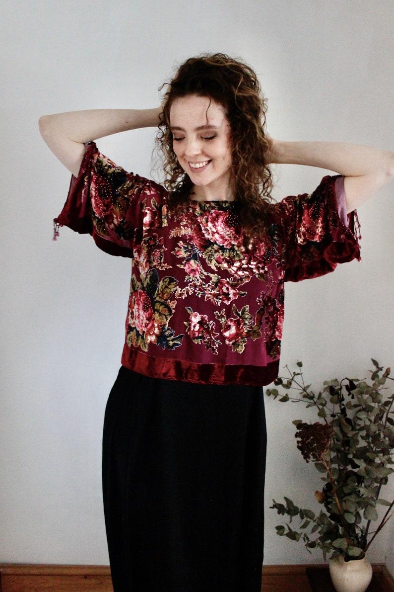 Burnout Top Beaded Top Floral Burnout Top Burgundy Party Top Festive Top Beaded Floral Kimono Top