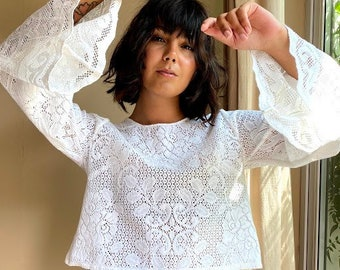 Lace Angel Sleeve Top in White