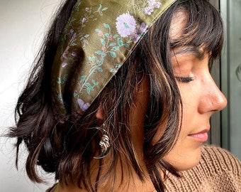 Boho Head Scarf, Head Wrap, Vintage Hair Tie, Boho Scarf, Head Band, Vintage Accessories, Gift for Her, Floral Head Band, Silk Head Scarf