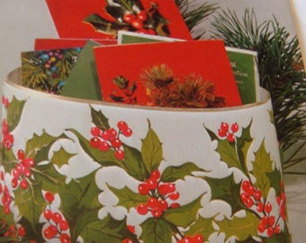 Vintage Hallmark Plan a Party Christmas Card Holder Holly Card Stock Die Cut