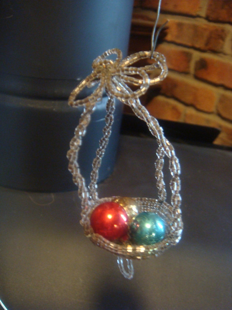 Beaded Bird Nest Ornament Vintage Christmas