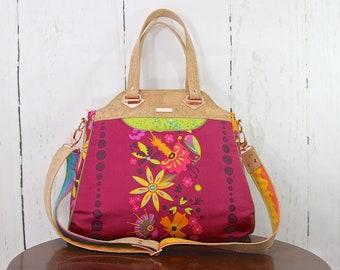 Tote bag, Cross body tote, Women's purse, Zippered bag, Cork and fabric bag, Stargazer Tote