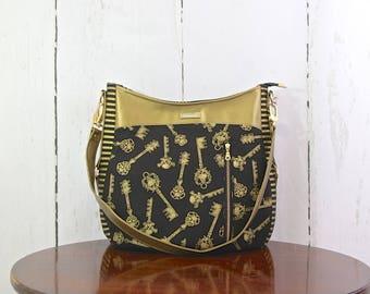 Hobo bag, Hobo purse, Shoulder bag, Skeleton key bag, Skull bag, Faux leather bag