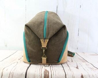 medium backpack, women's backpack, waxed canvas backpack, cork backpack, green backpack, backpack purse, zippered purse
