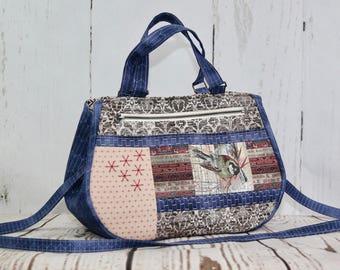 Tote bag, fabric tote, women's tote, embroidered tote, sashiko tote, cross body tote