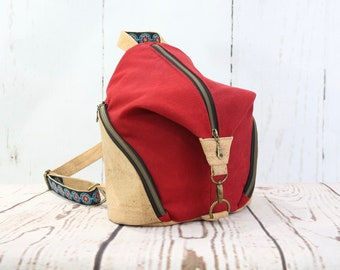 Small backpack, women's backpack, waxed canvas backpack, cork backpack, red backpack, backpack purse, zippered purse