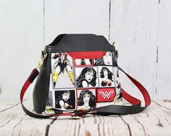 Cross body tote, Small purse, zippered purse, women's purse, Zippered bag, Stargazer Tote, faux leather bag, wonder woman bag