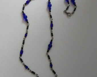 Royal Blue Black Glass Bead Crystal Silver Tone Single Strand Wire Necklace- 093