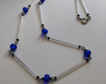 Royal Blue Glass Black Bead Crystal Silver Tone Single Strand Wire Necklace- 049