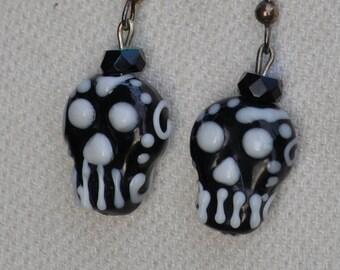 Lampwork Glass Day of the Dead Earrings, Handmade Earrings, Sugar Skull Earrings, Dia de los Muertos earrings, Black Swarvoski crystals