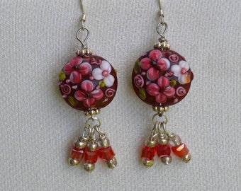 Lampwork Glass and Swarovski Crystals Earrings, Red and Pink Swarovski Crystals, Red, Pink and White Floral Lampwork Beads,Handmade Earrings