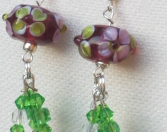 Lampwork Glass and Swarovski Crystals Earrings, Purple, Green and Clear Lampwork Floral Beads, Green and Clear Swarovski Crystals