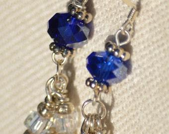 Swarovski Crystals Earrings, Blue Swarovski Crystals, Clear Swarvoski Crystals, Swarvoski Earrings, Handmade Earrings