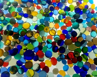 Fusible Glass Dots. COE 90. 5-6mm in size. Choice of color. Bullseye Glass. Fused Glass. Fused Glass Supply.Mosiac Supply. PMC supply. Glass