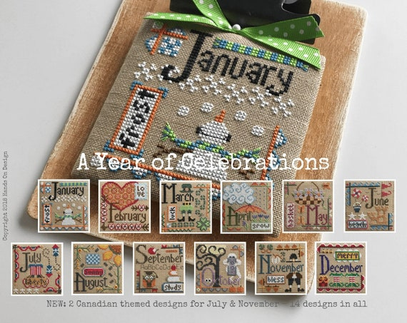 A Year of Celebrations - Cross Stitch Pattern by HANDS ON DESIGN Monthly Designs - Seasonal Sampler