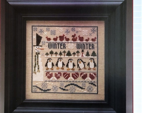 Winter LineUp - Cross Stitch Pattern THE TRILOGY - Winter Sampler - Snowman - Penguin - Snow - Cardinals - Mittens - Snow - Snow Flakes