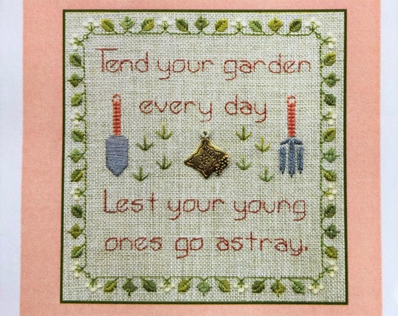 Tend Your Garden - Cross Stitch Pattern by ELIZABETH'S DESIGNS - Little Leaf Designs Series - Includes the cat charm!