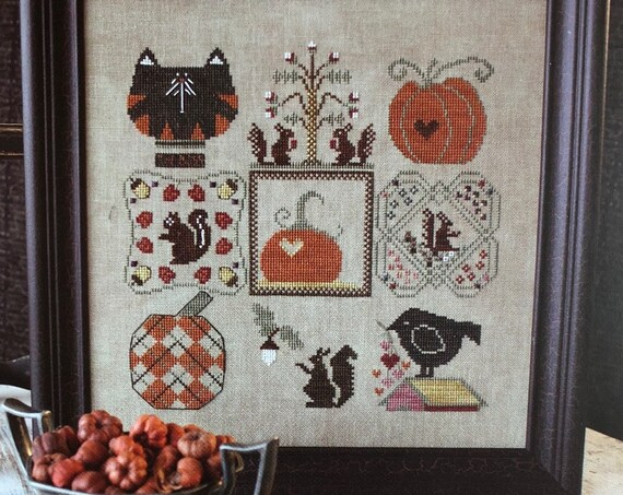 Colors of Autumn  - Cross Stitch Pattern KRIS'S STITCHES Norden Crafts - Pumpkins - Crow - Fall Sampler - Mosey 'n Me -