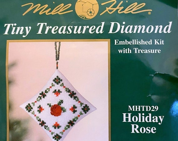 Mill Hill Tiny Treasured Diamond Cross Stitch & Beaded Kit HOLIDAY ROSE Christmas Ornament - Beads and Treasures by Mill Hill MHTD29