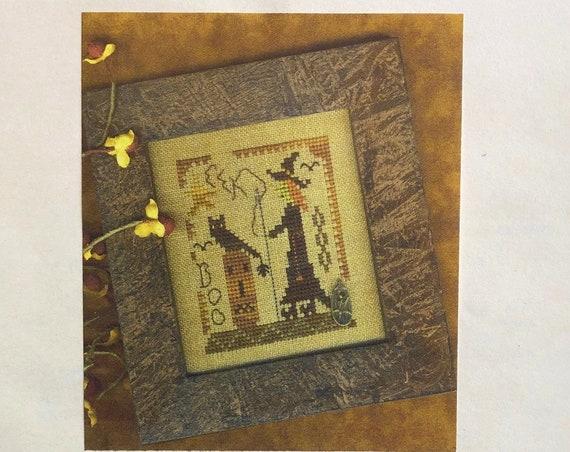 A Halloween Year - October - Stitching Witch - Cross Stitch Pattern by HOMESPUN ELEGANCE - Owl - Jack O Lantern - Pumpkin - Boo - Ornament