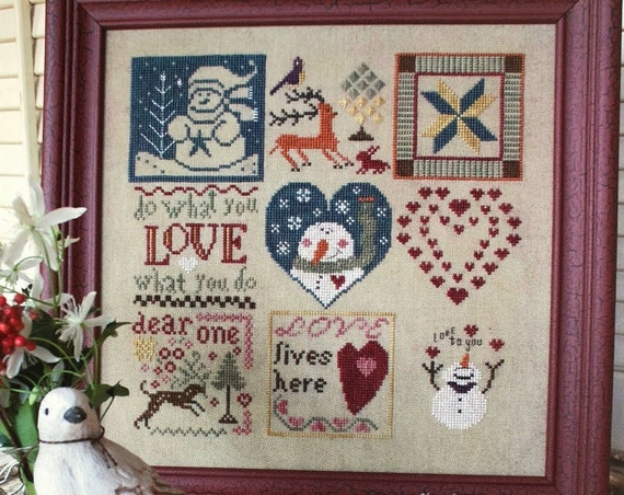 Winter Love  - Cross Stitch Pattern KRIS'S STITCHES Norden Crafts - Hearts - Snowman - Valentine
