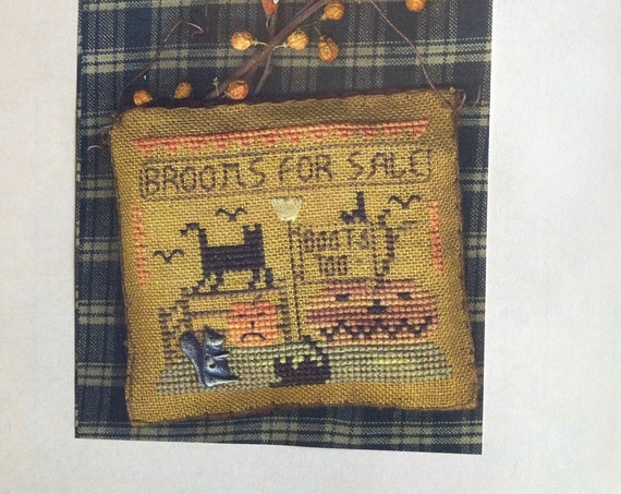 A Halloween Year - November - Brooms for Sale - Cross Stitch Pattern by HOMESPUN ELEGANCE - Jack O Lantern - Pumpkin - Black Cat - Ornament