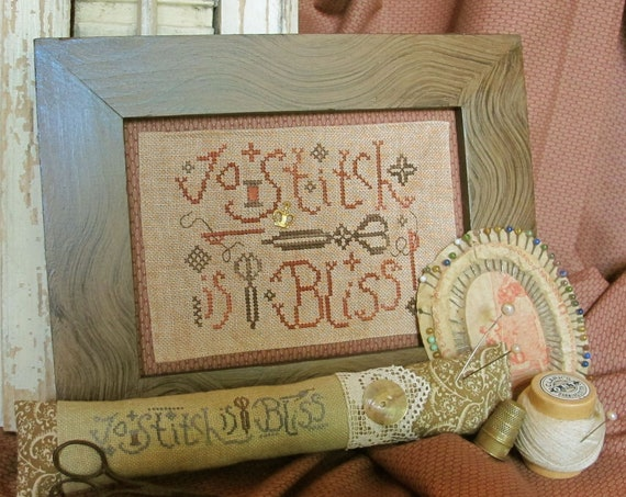 To Stitch Is Bliss - Cross Stitch Pattern by HOMESPUN ELEGANCE Plain & Fancy Collection - Stitcher's Saying